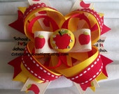 Girls Back to School Hair bow Apple Bow Yellow Red Hair Clip School Hair bows for Girls OOAK Bows Kindergarten Bow First Grade Hairbow Girls