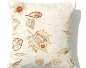 Autumn Leaves Cushion Cover, Linen Fall Pillow, Hand Written Letter Postcard
