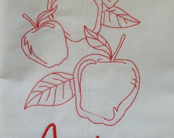 """Large 30"""" x 30"""" Apples Embroidered Flour Sack Kitchen Towel"""