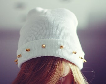 SALE -20% Studded spiked BEANIE White Handmade Spikes Studs