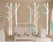 Free application tool Children Vinyl decal seven Birch Tree decal with Flying Birds LG set, Nursery Birch Trees