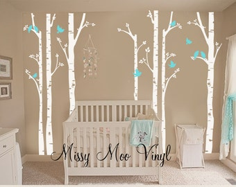 Free application tool Children Vinyl decal seven Birch Tree decal with Flying Birds LG set, Nursery Birch Trees