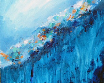 """SALE! Expressionism Art. Original abstract seascape painting """"Hidden Treasures"""", 24"""" x 24"""" on canvas.  Home decor art."""