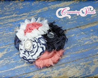 Coral, White Navy Blue Headband, Baby Hair Accessory, Fabric Flower Hair Clip, Hair Piece, Baby Girl Hair Bows, HairBow, Clip, Flower Brooch