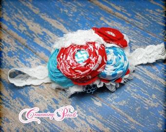 Red, Turquoise, White Headband, Dr. Suess, Baby Girl Hair Bow, Hair Accessories, Aqua, , Fabric Flower Hair Clip, Fabric Flowers