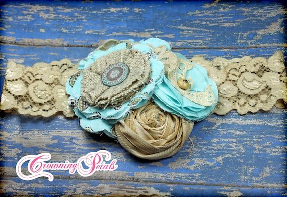 Turquoise, Burlap Headband, Aqua, Tan Hair Accessory, Baby Girl Hair Bows, Burlap Flower Bow, Burlap Flower Bow, Aqua Flower Headband