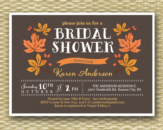 Fall Wedding Shower Invitations: Fall Bridal Shower Invitation Rustic Fall Autumn Shower Leaves