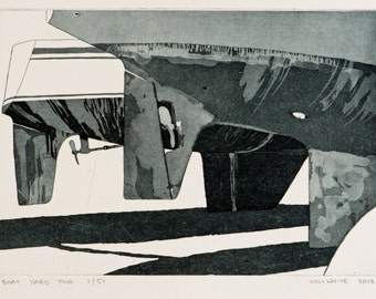 Original Etching of Boat - Boat Print - Etching with Aquatint on Somerset Paper  'Boat Yard Two' by William White - FREE SHIPPING