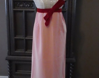 60s Nadine White Sequined Pink Silk Wiggle Party Dress with Large Velvet Bow