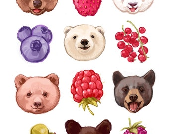 Fine Art Print - Bears and Berries  Illustration