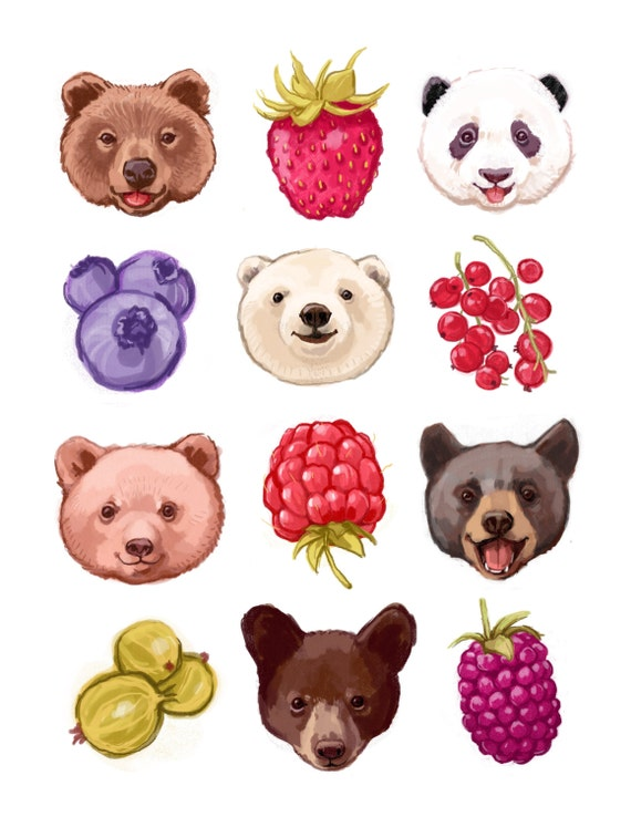 Fine Art Print - Bears and Berries  Illustration