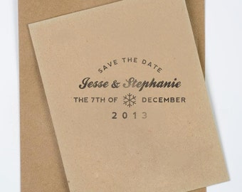 "2x2"" Winter Themed Save the Date Stamp - Snowflake Stamp"