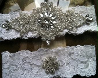 SALE-Wedding Garter - Ivory Lace Garter Set - Rhinestone Garter - Vintage - Applique Garter - Bridal Garter - Vintage Garter - Toss Garter