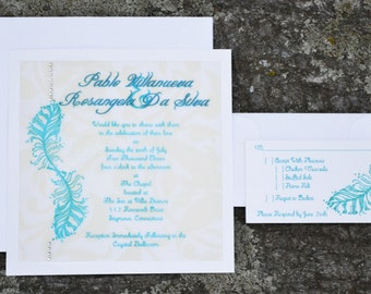 Teal Double Layer Feather and Gem Wedding Invitation Set