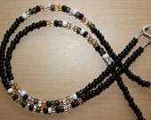 Sea Stones - Black Waist Bead, Neutral accent beads - Sterling Silver Clasp
