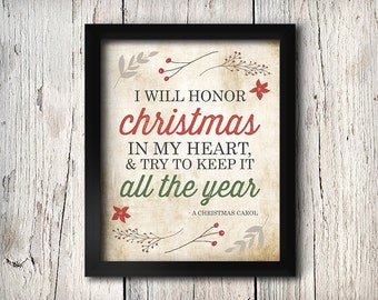Christmas Typography Print, I Will Honor Christmas Charles Dickens A Christmas Carol Quote, Holiday Decor, Red Green Retro Vintage, Rustic