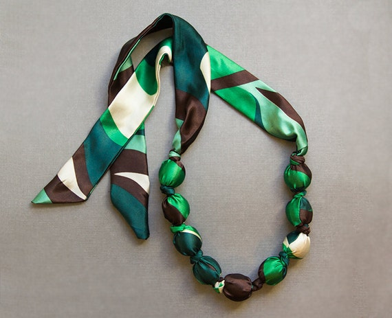 Green and White Silk and Bead Necklace / Feminine Floral Chunky Statement Jewelry / Fabric Necklace / Green Forest / Woodland Autumn Fashion