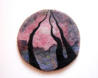 Felt wall hanging, needle felted wool art, surreal landscape, fiber art, felt picture.