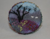 Embroidered Felted Brooch - Heather Moors
