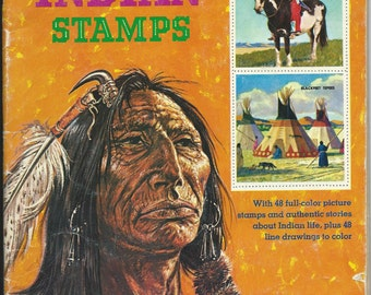 Vintage Golden Book of Indian Stamps 1977 Great Book for Art Projects or Info