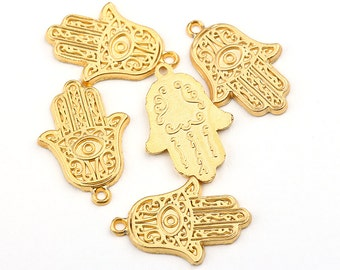 Gold Hamsa Charms, Hand of Fatima Charms, 5 pieces // GPCh-092