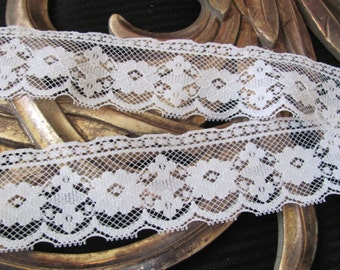 Lace Vintage White Scallop Lace Sewing Trim - 2 Inches Wide  - 2 Yards Total Length #003B #10L