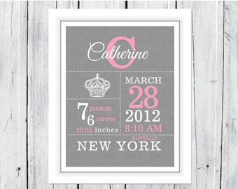 Crown Birth Announcement - Birth Stats Print - Nursery Decor -
