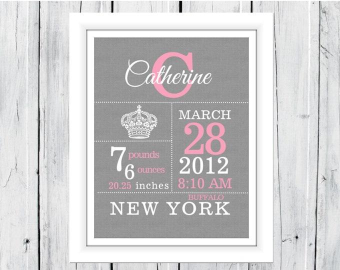 Crown Birth Announcement - Birth Stats Print - Nursery Decor -