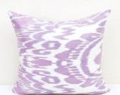 Light blue violet Ikat pillow cover