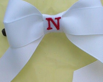 All White monogrammed Bow