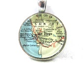 Vintage Map Pendant of San Diego, California, in Glass Tile Circle