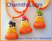 Happy Candy Corn Polymer Clay  Necklace - CharmthisClayCharms