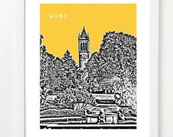 Ames Iowa Art Print - Ames Skyline Poster - Ames Poster - Ames Wedding Gift
