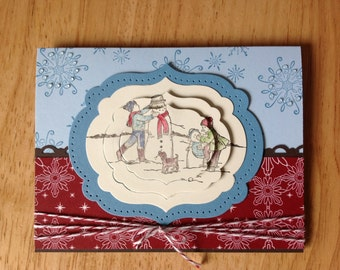 Stampin Up handmade Christmas card - 3D building snowman