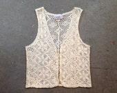 vintage 90s lacey floral crochet ivory vest. retro clothing.