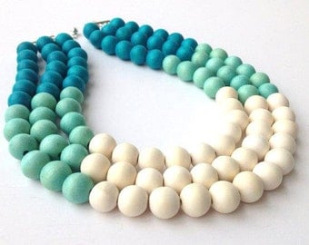 Color Block Necklace, Chunky Turquoise Necklace, Chunky Multi Strand Necklace, Chunky Wood Necklace