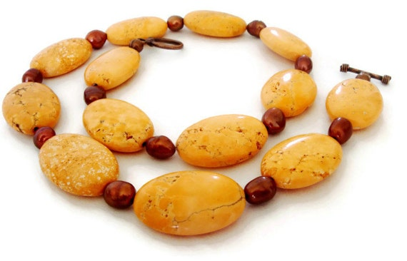 Orange Coral Stone Statement Necklace, Autumn Necklace, Fall Necklace, Peach Turquoise Necklace, Coral Turquoise Necklace
