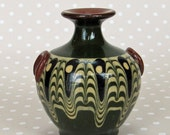 Vintage Retro Miniature Terracotta Green Psychedelic Patterned Small Posey Vase - Kath