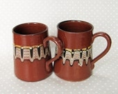 Pair of Beautiful Retro Earthenware Terracotta Brown Psychedelic Patterned Mug Tankard