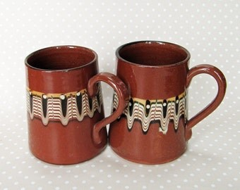 Pair of Beautiful Retro Earthenware Terracotta Brown Psychedelic Patterned Mug Tankard