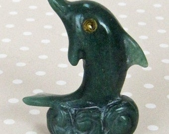 Vintage Small Green Jade Like Stone Hand Carved Dolphin - Kath