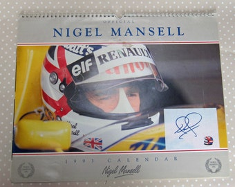 Rare Retro Official Signed Autographed 1993 Calendar of F1 Formula One World Champion British Nigel Mansell