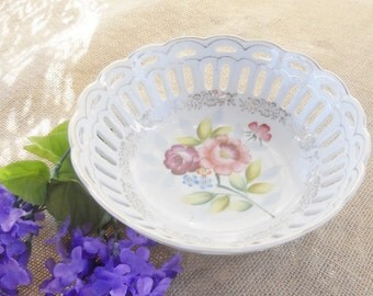 Vintage Victorian Reticulated Floral Bowl, Made in Japan, Shabby Chic, Wedding, Tea Party, Home Decor