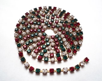 39 inches - 3mm Austrian Rhinestone Chain - holiday colors -r01
