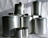 Vintage Aluminum Canister Set 7 Piece