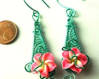 Wire wrapped green /pink flower earrings Plumeria