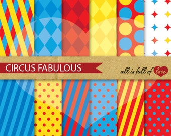 CIRCUS Scrapbooking Digital Paper Pack RED Yellow Blue Background Printable Instant Download Carnival Printable Circus Party Graphics