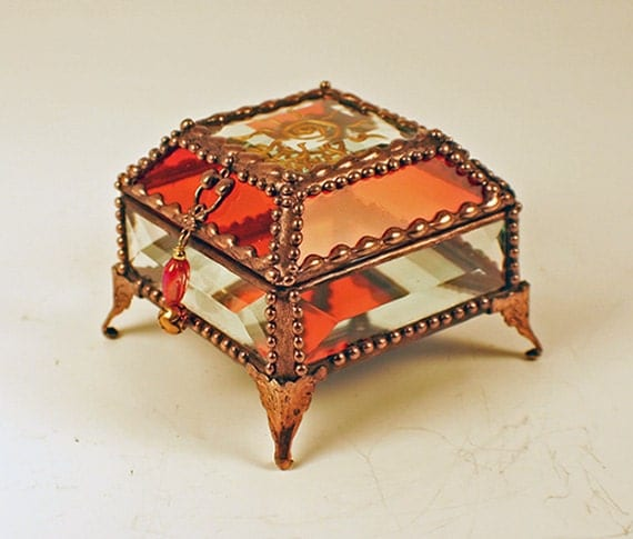 Sun Fetish Carved Glass Jewelry Box -  Faberge Style