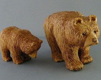 Mama and Baby Bear, Handcarved Bears, Sculpted Wood Bear Family