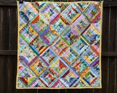 String Quilt  - OOAK, Baby Patchwork Quilt, Baby Blanket